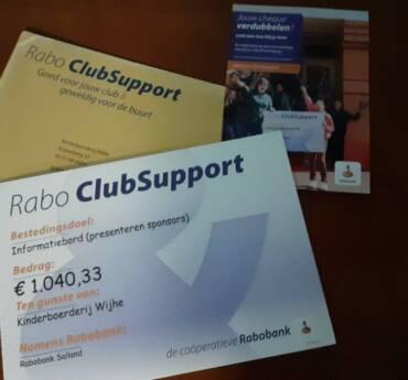 Bijdrage Rabo Clubsupport actie